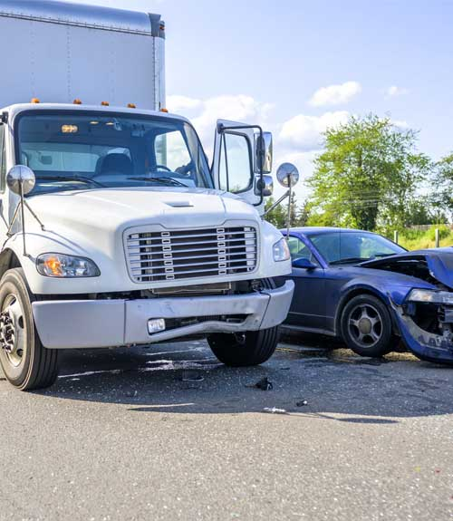 semi truck with car car accident